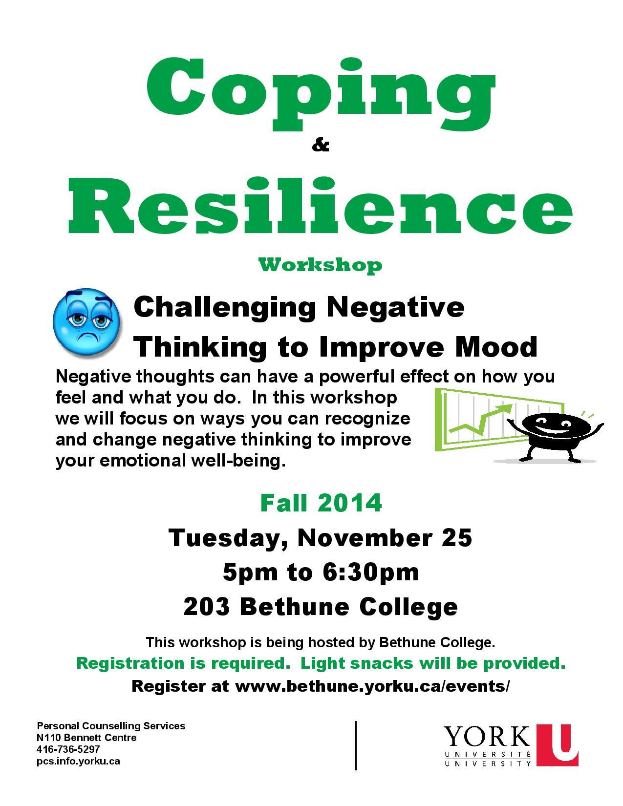 Coping & Resilience @ 203 Bethune College   Toronto   Ontario   Canada