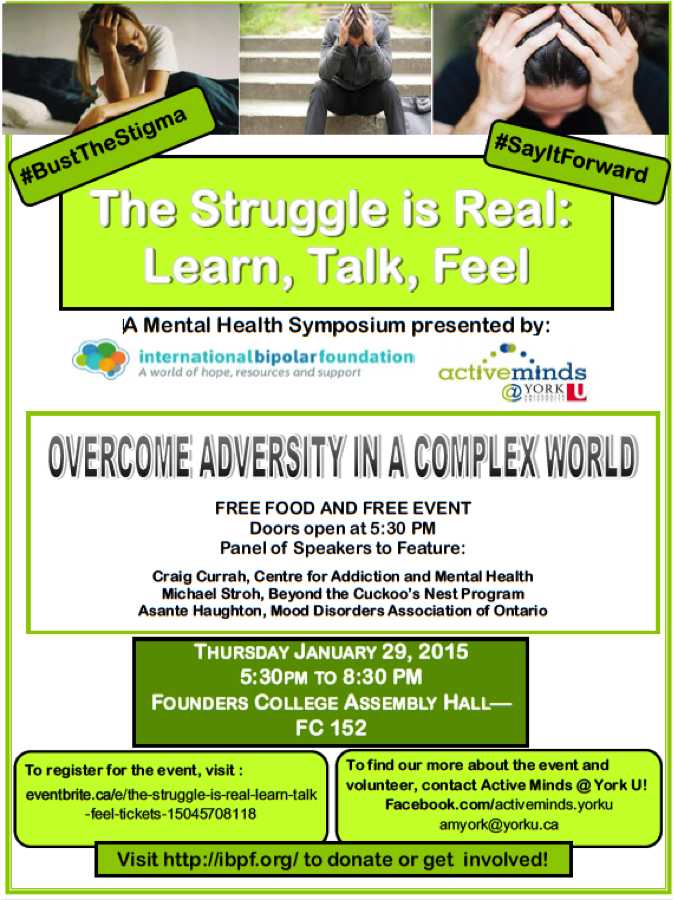 The Struggle is Real: Learn, Talk, Feel @ Founders College Assembly Hall (FC 152) | Toronto | Ontario | Canada