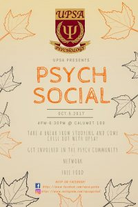 UPSA PSYC Social @ 100 Calumet College (JCR)