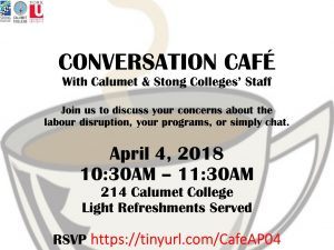 Conversation Cafe with Calumet & Stong Colleges' Staff @ 214 Calumet College