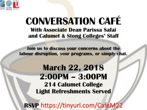 Conversation Cafe with Associate Dean Parissa Safai and the Calumet & Stong Colleges' Staff @ 214 Calumet College