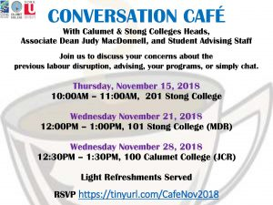 Conversation Cafe with Associate Dean Judy MacDonell, Calumet & Stong Colleges Staff and Advising Staff @ 100 Calumet College