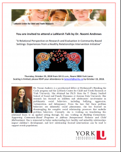 LaMarsh Talk by Dr. Naomi Andrews - A Relational Perspective on Research and Evaluation in Community-Based Settings:  Experiences from a Health Relationships Intervention Initiative @ 280A York Lanes