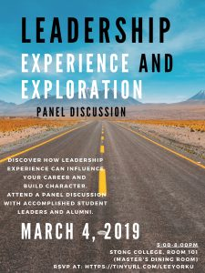 Leadership Experience and Exploration - Panel @ Stong College, R101 (Master's Dining Room)