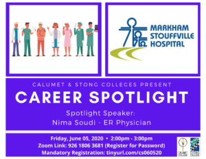 CAREER SPOTLIGHT: NIMA SOUDI – ER PHYSICIAN, MARKHAM STOUFFVILLE HOSPITAL @ Zoom Meeting ID: 926 1806 3681