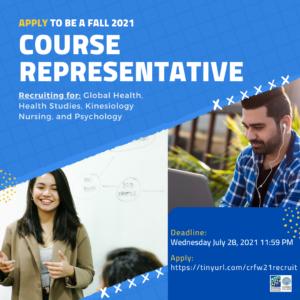 Deadline: Course Representative for Fall 2021 Application