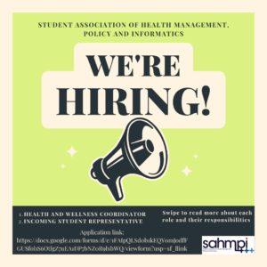 Deadline: SAHMPI is Recruiting!