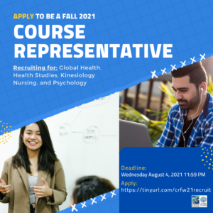Deadline: Apply to be a Course Representative for Fall 2021