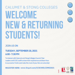 Calumet & Stong Colleges Welcome Event