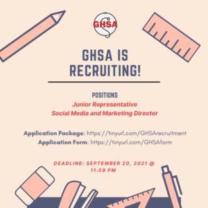 Deadline: GHSA Is Recruiting!