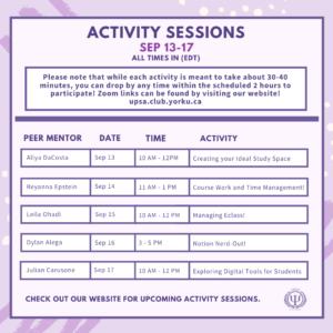 UPSA: Peer Mentoring Activity Sessions